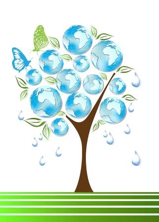 Eco, bio, green and recycle symbols on tree Vector