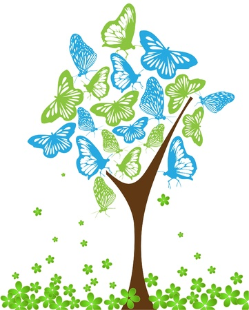 Blue and green butterflies on tree Vector