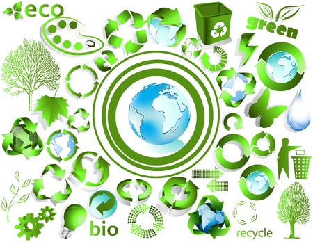 Eco end recycle symbols isolated on white Vector