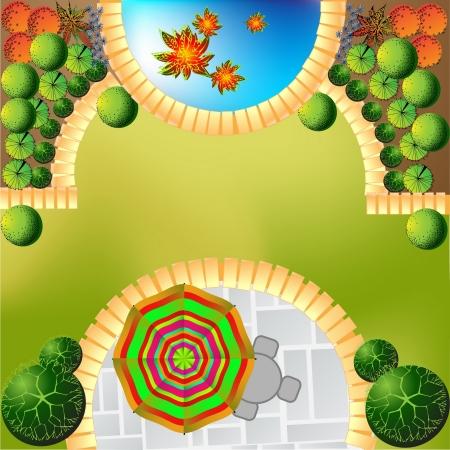 Plan de jardín con símbolos vegetales Ilustración de vector