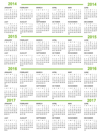Calendar, New Year   2014, 2015, 2016, 2017 with green lines Stock Vector - 20642104