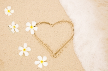 heart in sand: Handwritten heart on sand with wave approachin on Thailand