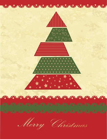 Christmas tree green and red vintage texture Vector