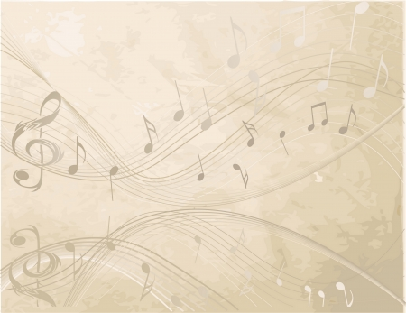 Vintage background with  Music  notes Çizim
