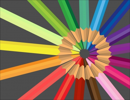Vector background with colored pencils  Vector
