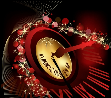 Merry Christmas and happy New Year background gold and red Vector