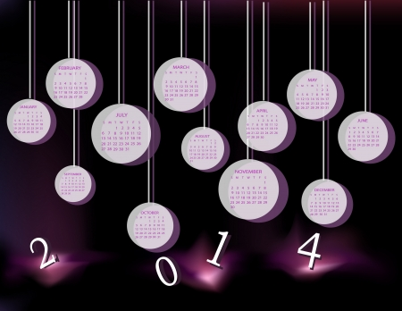 Calendar for 2014 year with circles Vector