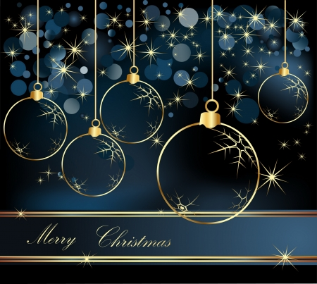 Merry Christmas  background gold and blue Vector