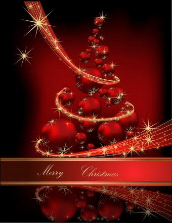 크리스마스 트리 빨간색과 금색 일러스트