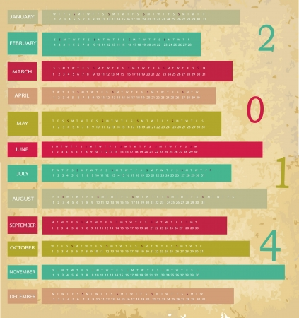 Vintage calendar for 2014 year Stock Vector - 22567746