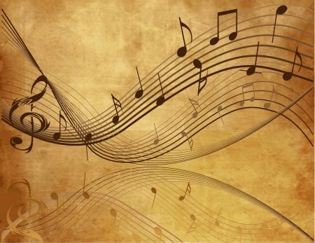 musical note: Fondo de la vendimia con las notas musicales Vectores