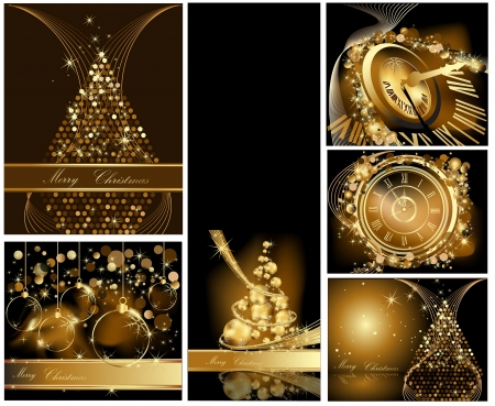 Gouden Merry Christmas achtergrond collecties