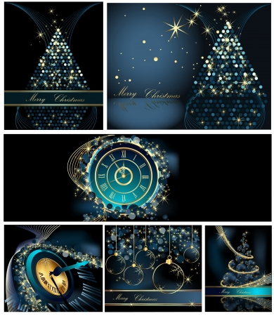 Merry Christmas background collections gold and blue Vector