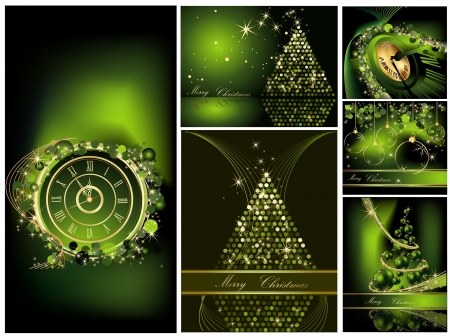 Merry Christmas background collections gold and green Stock Vector - 22867409