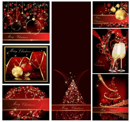 Merry Christmas background collections gold and red Vector