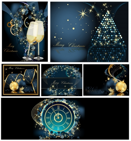 Merry Christmas background collections gold and blue Stock Vector - 22867424