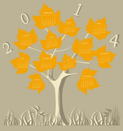 Tree calendar for 2014 year on leaves Vector