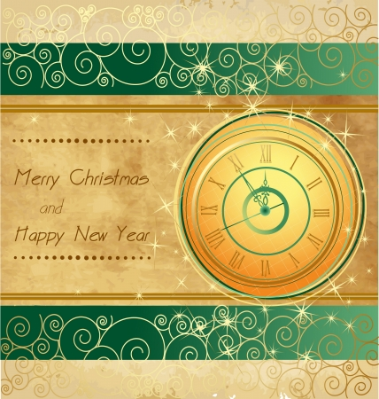Happy New Year and Merry Christmas vintage background with clock Vector