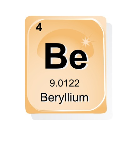 lanthanoids: Beryllium chemical element with atomic number, symbol and weight Illustration