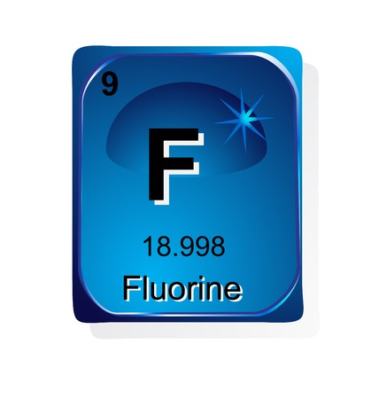 Fluorine chemical element with atomic number, symbol and weight Vector