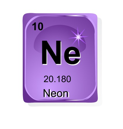 quantum: Neon chemical element with atomic number, symbol and weight Illustration