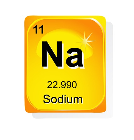 sodium: Sodium chemical element with atomic number, symbol and weight