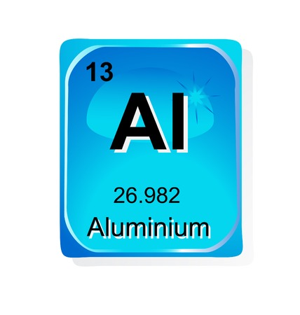 periodic table: Aluminium chemical element with atomic number, symbol and weight