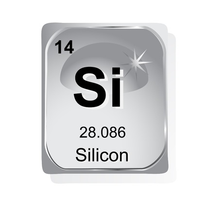 Silicon chemical element with atomic number, symbol and weight Vector