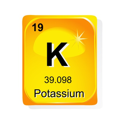 Potassium chemical element with atomic number, symbol and weight Vector