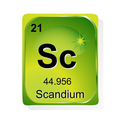 actinoids: Scandium chemical element with atomic number, symbol and weight