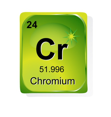 chromium: Chromium  chemical element with atomic number, symbol and weight Illustration
