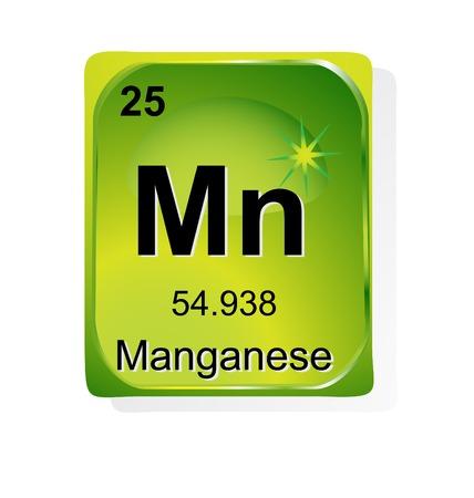 symbole chimique: Élément chimique de numéro atomique de manganèse, symbole et le poids Illustration