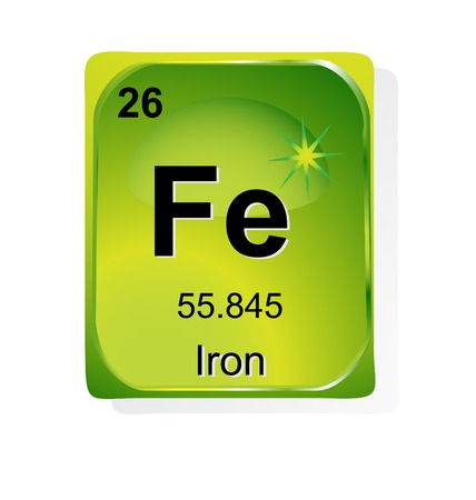 periodic element: Iron chemical element with atomic number, symbol and weight