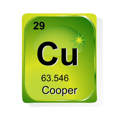 cooper: Cooper chemical element with atomic number, symbol and weight