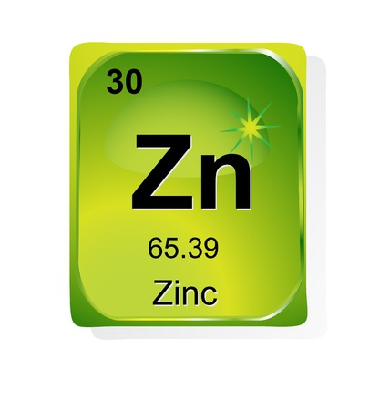 Zinc chemical element with atomic number, symbol and weight Vector