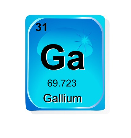 Gallium chemical element with atomic number, symbol and weight Vector