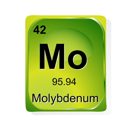 periodic element: Molybdenum chemical element with atomic number, symbol and weight
