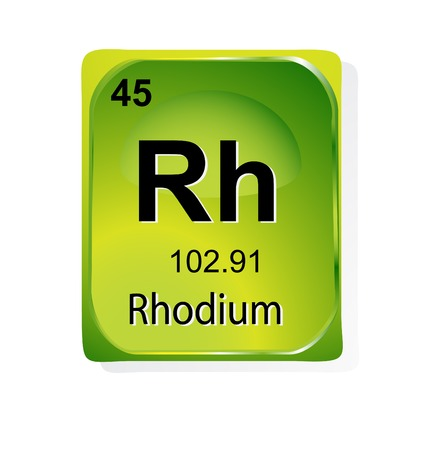 atomic: Rhodium chemical element with atomic number, symbol and weight