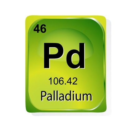 palladium: Palladium chemical element with atomic number, symbol and weight