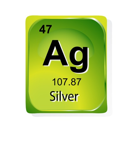 chemical element: Silver chemical element with atomic number, symbol and weight