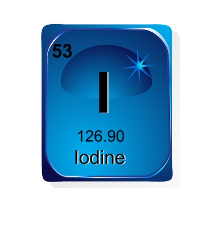iodine: Iodine chemical element with atomic number, symbol and weight Illustration