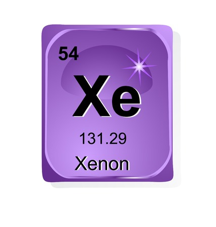 xenon: Xenon  chemical element with atomic number, symbol and weight Illustration