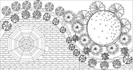 Vektor Landschaftsplan mit Baumkrone Symbole