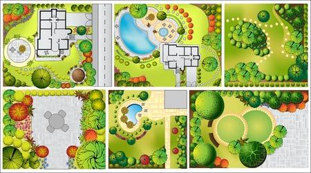 Colecciones od Plan de Paisaje con símbolos copas de los árboles