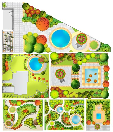 treetop: Collections od  Landscape Plan with treetop symbols Stock Photo