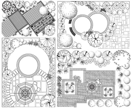 Collections od  Landscape Plan with treetop symbols Illustration