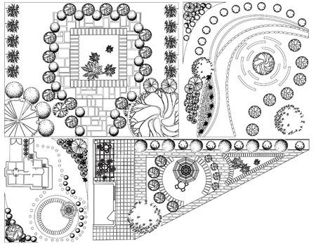 Colecciones od Plan de Paisaje con símbolos copas de los árboles en blanco y negro