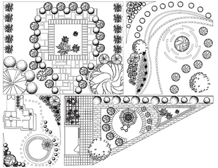 landscaping: Collections od  Landscape Plan with treetop symbols black and white