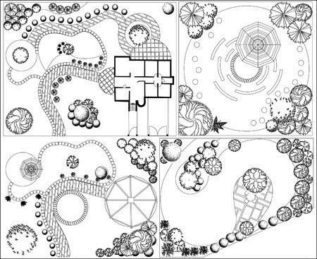 od: Collections od  Landscape Plan with treetop symbols black and white