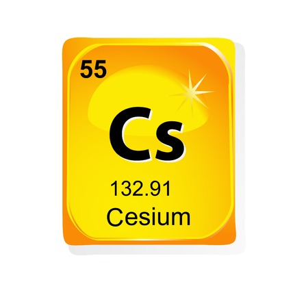 lanthanoids: Cesium chemical element with atomic number, symbol and weight